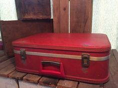 Vintage Red Suitcase by UpTheAntiqueCo on Etsy