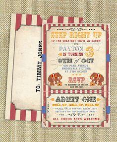 Vintage Circus Birthday Party Invitation  DIY PRINTABLE by Sassaby, $16.00