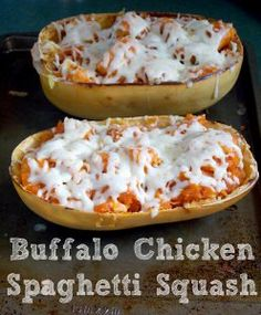 Buffalo Chicken Spaghetti Squash @Sarah Mitchell This looks like a fun riff on what you made for James and me last weekend!!