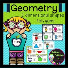Geometry- 2 D shapes (Polygons) (24 Task cards)  This is a colorful set of 24 task cards that will help students identify 2D shapes, vertices and sides. This set is a wonderful addition to your lessons! I've included a recording sheet and answer key, too!