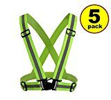 New JJMG Man/Woman High Adjustable Safety Security Visibility Reflective Neon Yellow Vest Gear Stripes belt Jacket  Jogging RunningCycling (5 Pack)