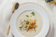 Cauliflower Soup with Caramelized Apples and Hazelnuts. Caramelized apples turn cauliflower soup into a sensational appetizer.