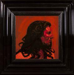 Woman in Orange  - Encre et Acrylique sous Perspex - 53 x 53 cm (hors cadre)