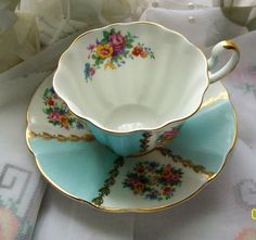 Vintage Royal Castle teacup  blue with design by NewtoUVintage