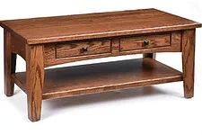 Ashford Coffee Table|Oak in Medium OCS110|42in W x 22in D x 17 1/2in H|The Amish Home|Hardwood Furniture at the Pittsburgh Mills