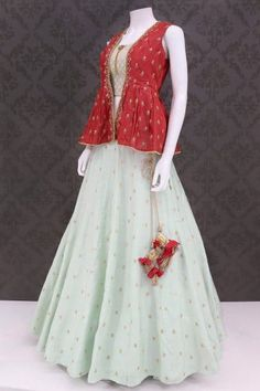 Palkhi fashion exclusive sea green pure silk crop top Lehenga suit enriched sea green pure silk blouse with maroon soft silk jacket with handwork Indian Gowns Dresses, Indian Fashion Dresses, Indian Designer Outfits, Pakistani Dresses, Choli Designs, Lehenga Designs, Blouse Designs, Dress Designs, Crop Top Designs