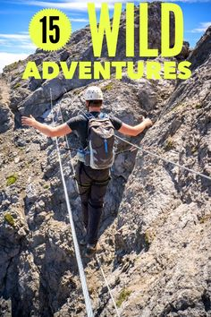 Looking for some adrenaline and adventure? Includes caving,climbing, paragliding, polar dip and more. Start with the three wire suspension bridge on the via ferrata in Banff National park. Can you match the 15 adventures to the photos?