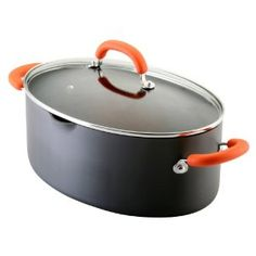 Black Pasta Pot...the oblong shape is goofy, but i like that there's more surface area  also at Kohls...Amazon.com: Rachael Ray Hard Anodized Nonstick 8-Quart Oval Pasta Pot with Glass Lid, Orange: Kitchen & Dining
