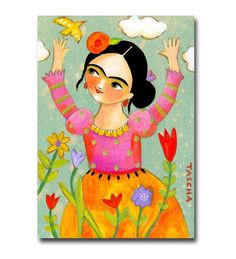 """This is my last painting for 2014. Frida is celebrating the new year and all the new possibilities that it brings :)  DETAILS:  * original one of a kind acrylic painting   * painted on a 7 x 5 inch stretched canvas with THICK 1 1/2 inch sides painted black  * protected with a gloss varnish  * signed and dated on the back. Signed """"tascha"""" on the front  * no frame is needed! ready to hang on the wall right out of the package  Come see my other art in my shop!: http://www.etsy.com/shop/tascha"""