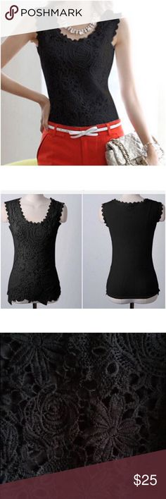 "Black floral lace top Black floral lace top. Measurements: S ( bust 31"" - 35"" ) M ( bust 31.5"" - 36"" ). Available also in white. Tops"