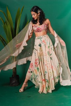 This set features a beige embroidered bustier with printed high low pants with an embellished cape jacket. Neck: Sweetheart Neck Sleeve Type: Strap Care: Dry Clean Only Lehenga Designs, Kurta Designs, Blouse Designs, Wedding Dresses For Girls, Indian Wedding Outfits, Indian Outfits, Indian Clothes, Indian Gowns, Indian Attire