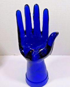 "Cobalt Blue Glass Hand Sculpture 8"" Jewelry Ring Holder Paperweight Vanity"
