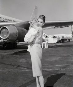 Audrey Hepburn and Son Sean (7 Months) on their way to Rome