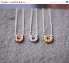 SHIP-AFTER-JAN/01 Sale : 190 Lucky Horseshoe Necklace with Sterling Silver Chain - minimalist jewelry by lustre