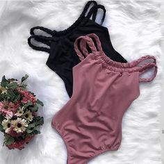 Buy Spaghetti Strap Backless Plain One Piece Chic Outfits, Trendy Outfits, Summer Outfits, Fashion Outfits, Cute Fashion, Teen Fashion, Cute Bathing Suits, Cute Swimsuits, Swimwear Fashion