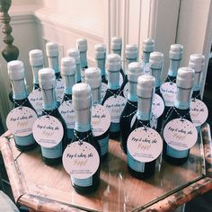 Baby Boy beautiful bottles of bubbly! Thanks for sharing, Alyssa! These are gorgeous! xo, Mae www.customaed.com #babyboyshower #champagneshowerfavors