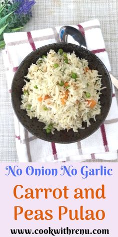 Quick, simple and delicious one pot gluten free colourful and fragnant pulao loaded with the goodness of carrots and peas.