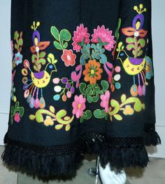 vintage 1970s maxi skirt / black wool Hand Embroidery 70s psychedelic – Retro Trend Vintage