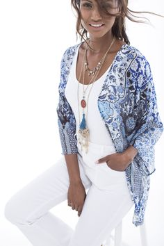 The boho printed kimono a summer essential, especially when paired with all white vest and denims. Summer Essentials, Art Direction, Fashion Online, Fashion Accessories, Kimono Top, Stylists, Vest, Plus Size, Boho