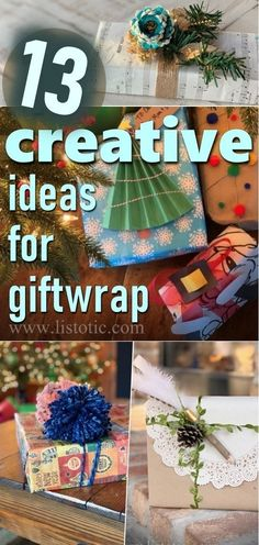13 Creative Ideas for Wrapping Gifts Christmas gift wrap ideas that are super creative and beauiful. Kids and adults willl love these cheap and easy holiday gift wrapping ideas. Unique ways to decorate your presents for the holidays! Save this pin so you are ready to wrap. #giftwrapping #giftrwrapideas #creativegiftwrap #holidaygifts