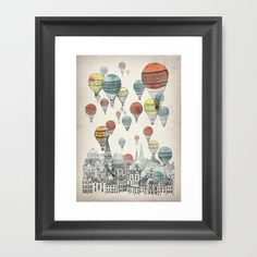"Voyages over Edinburgh Framed Art Print by David Fleck - $35.00...love the ""Period Peace"" of the turn of the century Hot Air Balloon. *Such Talent*"