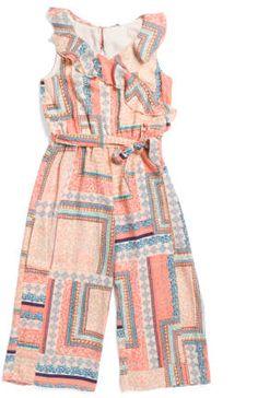 0e257660263c Girls Printed Ruffle Jumpsuit