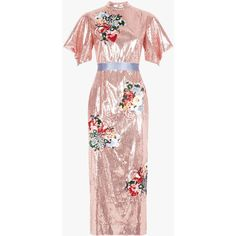 Emery Dress Pink ($5,045) ❤ liked on Polyvore featuring dresses, embroidered dress, draped dress, embroidered midi dress, embellished dress and short sleeve midi dress