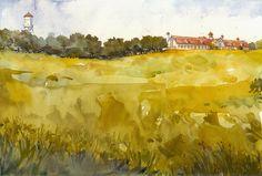 """Longview Farms by Richard Sneary Watercolor ~ 10"""" x 14"""""""