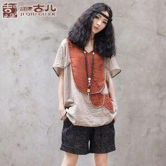 Jiqiu vechi de dus copil de petale libere cu mânecă scurtă T-shirt t-shirt etichetele originale de vară retro noi femeile de mari dimensiuni