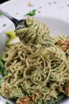 Creamy Avocado Pasta - To make vegan, try replacing the greek yogurt with soy yogurt. Though, for me, soy yogurt has too much of a soy flavor, so I would probably blend this with a salsa verde, and go for a brighter (and less creamy) flavor. The avocado will offer plenty of that heavenly creaminess without the yogurt.