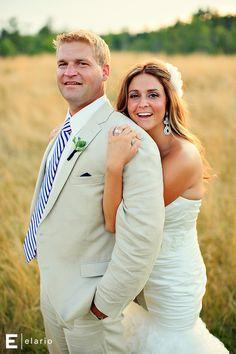 summer wedding, light tan suit #weddings #summerwedding #brideandgroom