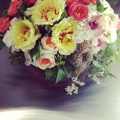 Gorgeous 'Cymbidium Floral' bridal shower centerpiece with yellow tree peonies, garden roses, orchid blooms, stellata pods & jasmine vine. www.cymbidiumfloral.com Tree Peony, Peony Flower, Send Flowers, Fresh Flowers, Jasmine Vine, Yellow Tree, Modern Flower Arrangements, Bridal Shower Centerpieces, Peonies Garden