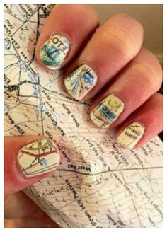Vintage Antique Floral Newspaper Nail Art