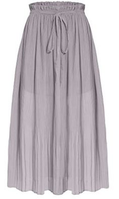 0d4c288020 Ashir Aley Woman's Chiffon Ankle Length Long Pleated Retro Maxi Skirt