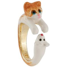 N2 by Les Néréides LES NEREIDES LOVES ANIMALS KITTEN AND MOUSE RING ($59) ❤ liked on Polyvore featuring jewelry, rings, jewelry rings, orange, mouse ring, mouse jewelry, orange jewelry, animal jewelry and orange ring