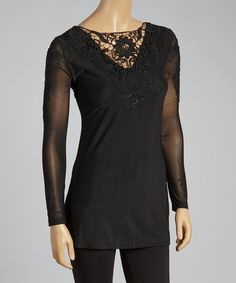Look at this Pretty Angel Black Crochet Linen-Blend Top on #zulily today!