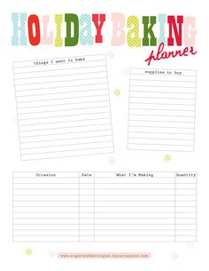 Free Printable Holiday Baking Planner  If you're like me, this is so necessary!