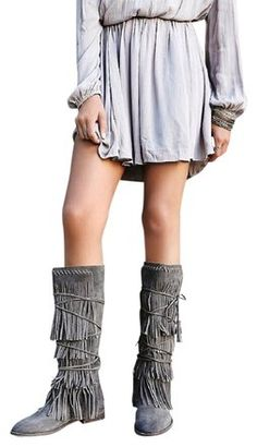 1ceb1f0270a Farylrobin Grey Free People Songbird In Suede - Distressed Boots Booties Size  US 8 Regular