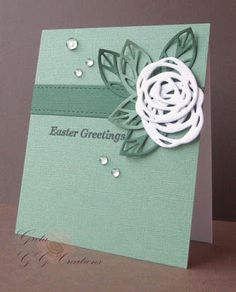 Change the sentiment for any occassion! Easter Greetings Card from the GG Creations blog for the #EllenHutsonLLC #MixItUpChallenge. @prettypinkposh #BoldBlooms