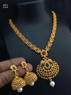 Jewelry OFF! Antique temple jewelry For details ping WhatsApp Number 09947840682 Different designs are available Gold Mangalsutra Designs, Gold Earrings Designs, Gold Jewellery Design, Necklace Designs, Bridal Jewelry, Beaded Jewelry, Quartz Jewelry, Jewellery Earrings, Choker Necklaces