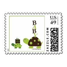 Two Turtles Baby Shower Stamps