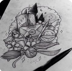Harry potter tattoo design (unknown artist) 3 harry potter h Tattoo Drawings, Body Art Tattoos, New Tattoos, Sleeve Tattoos, Harry Potter Tattoos Sleeve, Friend Tattoos, Ankle Tattoos, Arrow Tattoos, Tatoos