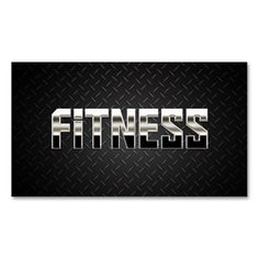 Cool Steel Sport Fitness Dark Metal Business Card. This is a fully customizable business card and available on several paper types for your needs. You can upload your own image or use the image as is. Just click this template to get started!