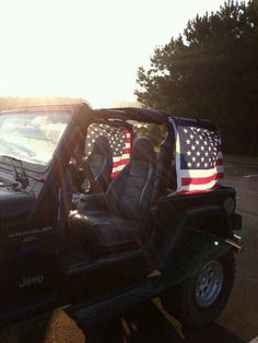 American flags on a Jeep
