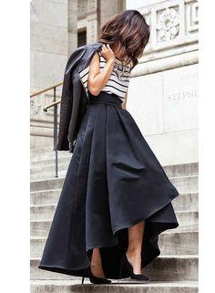 Black Solid Pleated Asymmetrical Long Skirts Womens 2017 Plus Size Autumn Vintage High Waist Ball Gown Mermaid Party Maxi Skirt  #elegantjumpsuits #classydresses #ChicPlushCloset #favoritetops #fashiontrends #fashionablychic