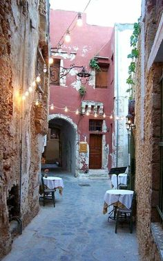 An alley in the Old Town of Chania, Grete Island, Greece