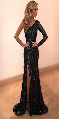On Sale Appealing Long Sleeves Prom Dresses Black Sheath Sweep Train One  Shoulder Long Sleeve Side Split Sparkle Prom Dress 3e0c7df5c2d7