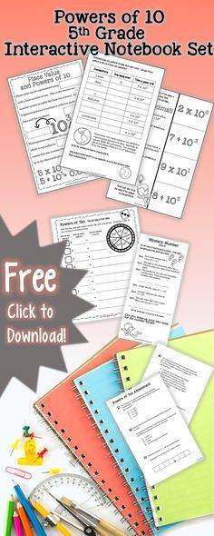 Try a interactive notebook set from Leaf and STEM Learning! This free mini book, practice, and formative assessment is perfect for your students' journals when you cover place value and powers of ten. Common Core aligned!