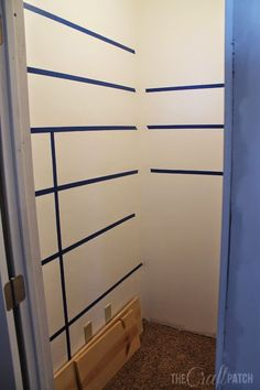 DIY:  How to Build Pantry Shelves - this is an excellent tutorial that starts out by using painter's tape to mark where your shelves will be.  This post shows each step - via The Craft Patch