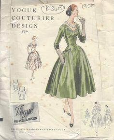 "1955 Vintage VOGUE Sewing Pattern B36"" DRESS (R340)"